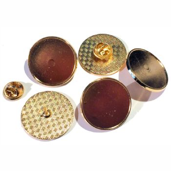Premium Badge Blank round 25mm gold clutch and clear dome